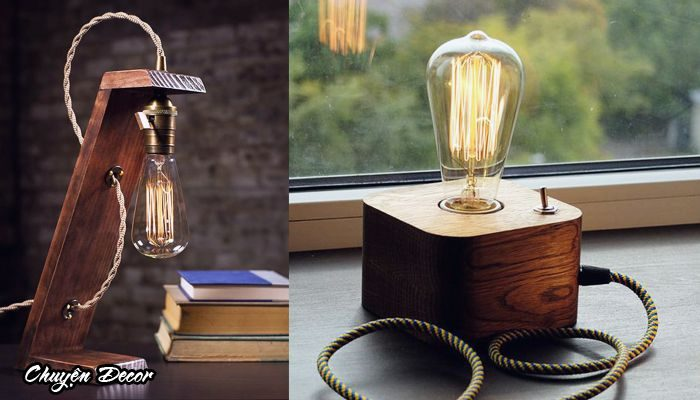 Đèn edison thân gỗ