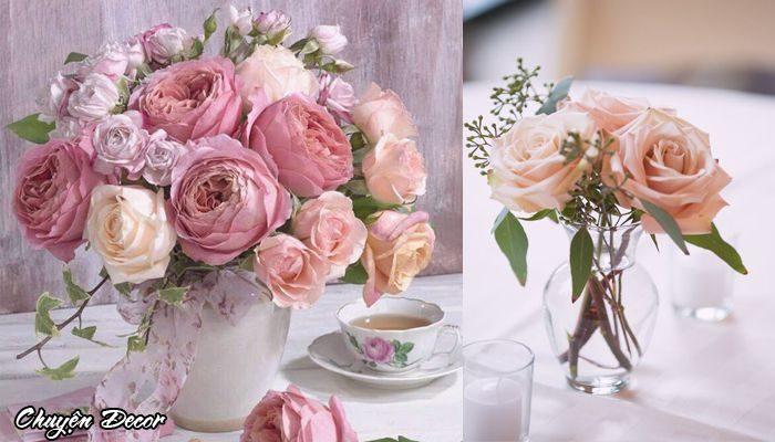 Lọ hoa hồng trang trí bàn