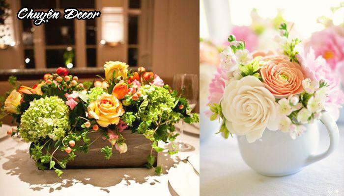Mẫu hoa giả để trang trí bàn phòng ăn