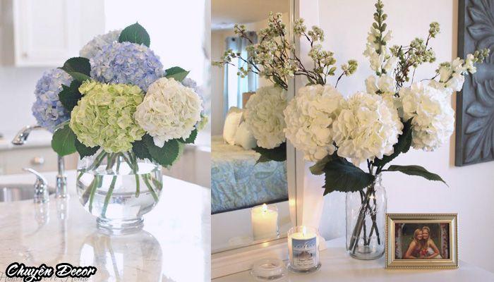 Kết quả hình ảnh cho bình hoa cẩm tú cầu trắng