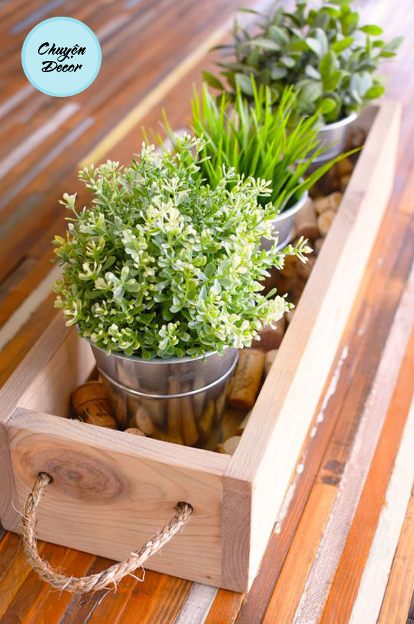 Chậu hộp gỗ hình chữ nhật
