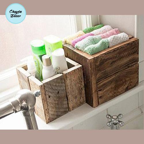 Hộp gỗ đựng vật dụng phòng tắm